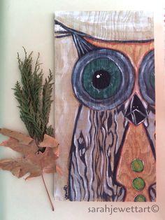 Wood Grain Owl Painting by sarahjewettart on Etsy https://www.etsy.com/listing/251794139/wood-grain-owl-painting