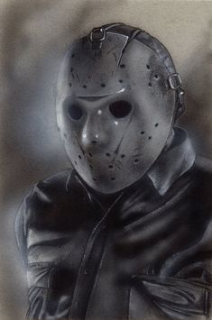 """Horror Movie Art : """"Friday The """"Jason Voorhees"""" by Devin-Francisco @ deviantart Horror Icons, Horror Films, Horror Art, Jason Friday, Friday The 13th, Horror Monsters, Scary Monsters, Toned Paper, Jason Voorhees"""
