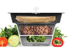 Taco Server Keeps Your Meat, Tacos Warm - Cooking Gizmos Tortilla Shells, Taco Ingredients, Kitchen Gadgets, Salsa, Tacos, Beef, Cooking, Hot, Tortillas