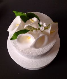 Sugar Calla Lily and Lily of the Valley spray great as a wedding cake topper