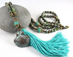 Rainforest Jasper Mala Meditation Beads, Tassel Necklace  by goodmedicinegemstone