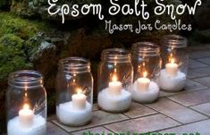 Epsom Salt Snow... This would be lovely to light the pathway on Christmas for guests.