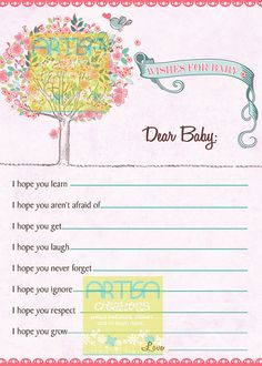 Tree and Birds Pink Baby Shower Wishes for Baby by artisacreations, $9.00