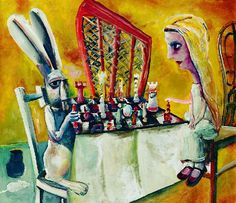 The Chess Game, c.1956, part of the Alice Series of Charles Blackman, b Australia 1928. in the collection of The Ballarat Fine Art Gallery.