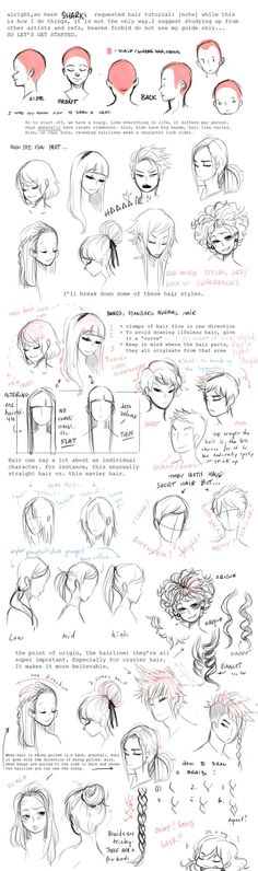 How to draw hair tutorial
