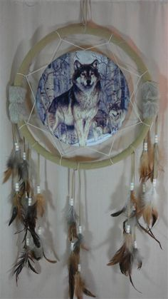 Dream Catcher Beautifully Depicting Wolves And Native American Art