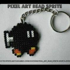Porte clés bob-omb noir - super mario bros. - bead sprite