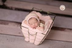 Cesto de ferro retangular para fotografia newborn