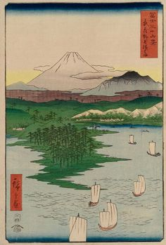 Mt Fuji from Yokohama at Noge in Musashi Province by Hiroshige - from the 36 Views of Mt. Fuji series (1858)