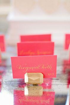 Gold Gem Escort Card Holders | Harwell Photography | See More! http://heyweddinglady.com/glamorous-geometric-wedding-inspiration-in-fuchsia-blush-and-gold/