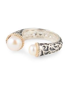 image of Sterling Silver With 14k Gold Accent Pearl Ring