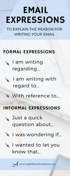 Improve your writing skills and emails by using these 45 common email expressions. Click the link below to learn more useful vocabulary Great email marketing resources and training English Vocabulary Words, English Phrases, English Words, English Grammar, English Tips, English Lessons, Learn English, Email Writing, Business Writing