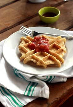 Cornmeal Waffle with Strawberry Rhubarb Ginger Compote