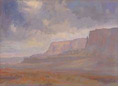 """American Legacy Fine Arts presents """"Storm over Vermillion Cliff"""" a painting by Peter Adams."""