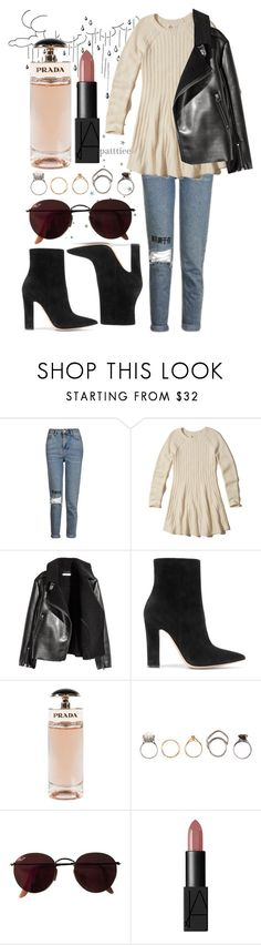"""""""191216"""" by patttiee ❤ liked on Polyvore featuring Topshop, Hollister Co., H&M, Gianvito Rossi, Prada, Iosselliani, Ray-Ban and NARS Cosmetics"""