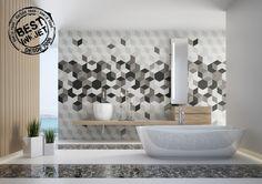 Ambiente TOSCANA NEGRO TRIDI, pieza hexagonal de formato 26x29, formando diseños tridimensionales