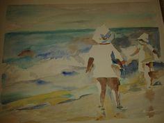 Strand og Sommerstemning -akvarel