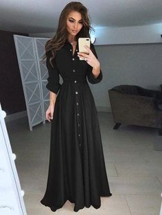 Button Down Maxi Shirt Dress Maxi Shirts, Maxi Shirt Dress, Maxi Dress With Sleeves, Half Sleeves, Beautiful Dress Designs, Beautiful Dresses, Awesome Dresses, Slim Fit Dresses, Casual Dresses For Women