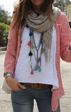 fall fashion pink knit scarf