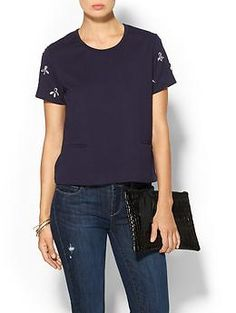 Tinley Road Embellished Sleeve Top | Piperlime