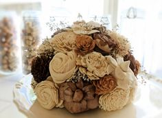 Beautiful Wedding Cake Topper- Handmade Flower Elegant Rustic Vintage Fall Wedding Sola Wood Flower. $70.00, via Etsy.