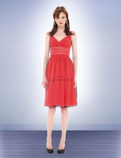 Bill Levkoff Bridesmaid Dress Style 671. The sweetly pleated shoulder straps of these Chiffon bridesmaids dresses are complemented by a tucked Charmeuse band accenting the high waist. Soft gathers add fullness to the knee-length skirt and complete the bridesmaid dresses' soft, layered look.