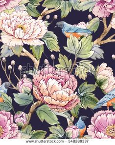 Watercolor floral pattern of Chinese style.Spring floral pattern with peonies and birds. black background