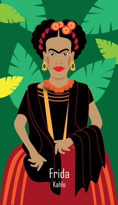 Frida Kahlo trading card created in Adobe Illustrator