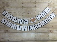 HAPPY 50th ANNIVERSARY Banner / Happy Anniversary Party Decor / Happy Anniversary Sign / Happy Anniversary Photo Prop by WeefersDesigns on Etsy