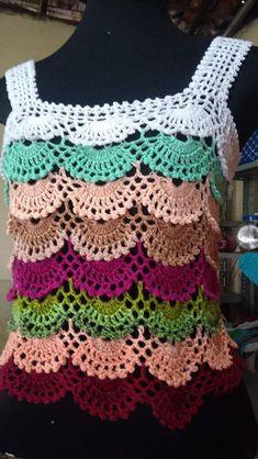 Crochet Ripple, Granny Square Crochet Pattern, Crochet Diagram, Crochet Doilies, Crochet Baby, Crochet Top, Crochet Patterns, Crochet Shirt, Crochet Instructions