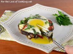 Egg, Roasted Pepper, and Feta Stuffed Portobello