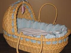 """(28978) Pleasant Company American Girl 15"""" Bitty Baby Doll Moses Wicker Doll Bed Basket"""