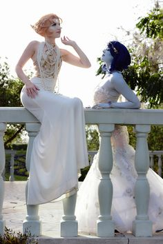 A Smile and A Song Cosplay (on Instagram and FB only) as Pearl, myself as Lapis. From our Gem Harvest inspired Wedding shoot. Photography by KeighleyK on Instagram.