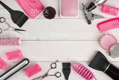 Hairdressing tools on wooden planks background with copyspace in centre royalty-free stock photo
