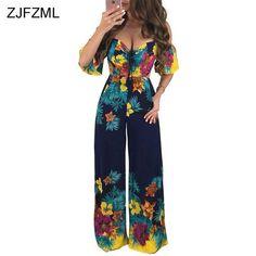 6df6f0c459f ZJFZML Off Shoulder Vintage Wide Leg Jumpsuits Women Slash Neck Floral  Print Long Romper Short Sleeve