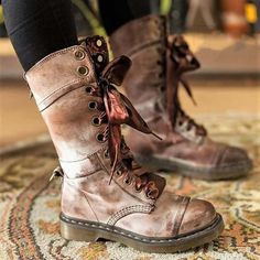 3b67172b9024 Womens Vintage Chunky Heel Lace-up Leather Daily Boots. popzora