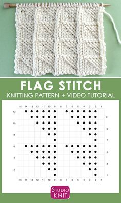 Flag Knit Stitch Pattern Chart with Video Tutorial by Studio Knit