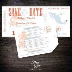 Boarding Pass and Luggage Tag Dominican Republic Destination Wedding Invitation & Save the Date Set - DIGITAL by PaperTalesCustom on Etsy https://www.etsy.com/listing/244309829/boarding-pass-and-luggage-tag-dominican