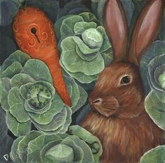 Secrets Of The Garden RABBIT Painting  - Secrets Of The Garden RABBIT Fine Art Print