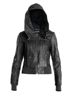 Ladies black leather bomber jacket with hood – Jackets photo blog