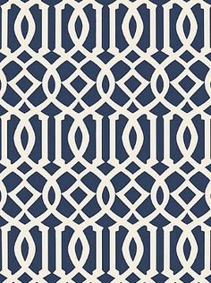 Sch 5005801 - Imperial Trellis II - Ivory / Navy - Wallpaper - DecoratorsBest - imperial trellis, navy blue, wallpaper
