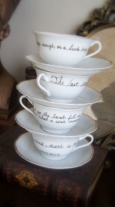 Harry Potter teacups with quotes from Dumbledore on each.