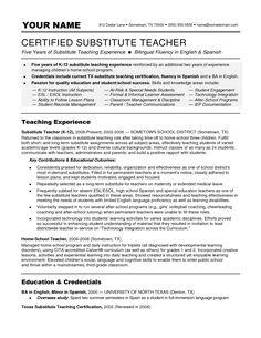 Substitute Teacher Job Description For Resume Business Development Resume Skills  Resume Samples  Pinterest