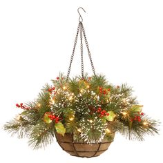 Shop for 20-inch Wintry Pine Hanging Basket with 35 Warm White LED Lights. Get…