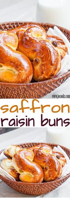 Saffron Raisin Buns  INTERESTING - MAY REQUIRE ALTERATIONS, THERE IS A LOT OF BUTTER, AND DOSAGES ARE IN CUPFULS ETC. PERHAPS TRY IT FOR FRIDGE DOUGH , MIX TODAY AND BAKE TOMORROW MORNING? SOUNDS NICE TO HAVE EASY EARLY AROMATIC BAKES SUNDAY MORNING