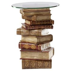 Montegue End Table Metal End Tables, Wooden Tables, Book Furniture, Furniture Redo, Book Centerpieces, Glass Glue, Exotic Art, Leather Bound Books, Chair Side Table