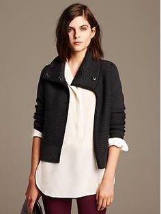 Suede trimmed moto sweater from Banana Republic