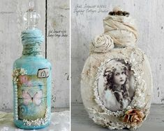 Botellas decoupage para la decoración vintage