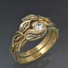 Gold DELICATE LEAF Wedding Ring Set  Engagement Ring by BandScapes, $1730.00    And it's available in Rose gold <3 love it sooo much. Swoon.