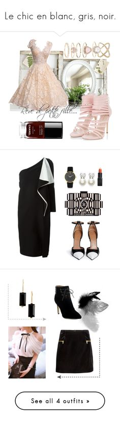 """Le chic en blanc, gris, noir."" by sha-shu on Polyvore featuring mode, Accessorize, Chanel, Chloé, Judith Jack, Larsson & Jennings, Barry M, Givenchy, H&M et Anne Klein"